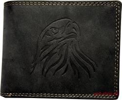 46313aa79916f Hochwertige Geldbörse Geldbeutel Portemonnaie Wasserbüffel Leder Adler  geprägt Schwarz von Unbekannt