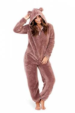 Undercover Lingerie Ltd CT Womens Soft Coral Fleece Novelty All in One Onesies Taupe Sherpa Large von Undercover Lingerie Ltd