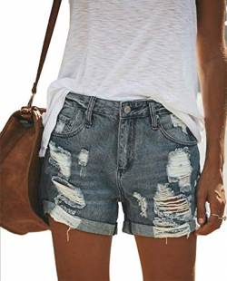 Uni-Wert Damen Jeansshorts Basic in Aged-Waschung Jeans Bermuda-Shorts High Waist Denim Kurze Hose Sommer Mode Destroyed Loch Hotpants Shorts von Uni-Wert