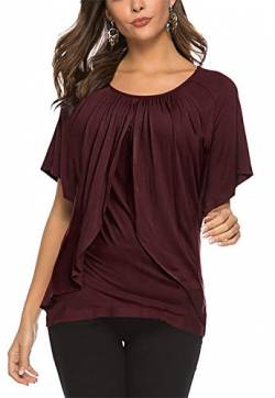 Uniquestyle Damen Sommer Kurzarm T-Shirt Tiered Ruffle Bluse Solide Tunika Sommer Oberteile Tops Wein rot S von Uniquestyle