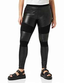 Urban Classics Damen Ladies Fake Leather Tech Yoga-Hose Leggings, Schwarz (Black 00007), W(Herstellergröße: XL) von Urban Classics