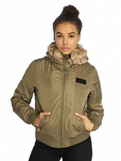 Urban Classics Damen Ladies Imitation Fur Jacket Bomber Jacke, Grün (Darkolive 551), X-Small von Urban Classics