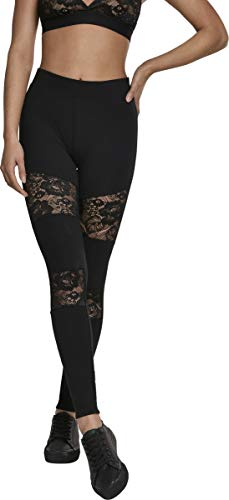Urban Classics Damen Ladies Laces Inset Leggings Schwarz (Black 00007) XXL von Urban Classics