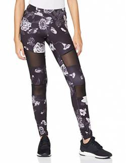 Urban Classics Damen Ladies Tech Mesh AOP Leggings, darkflower, 5XL von Urban Classics