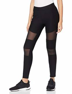 Urban Classics Damen Ladies Tech Mesh Rib Leggings, Black, L von Urban Classics