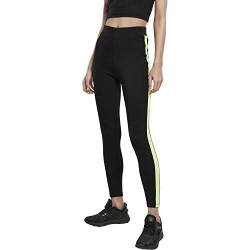 Urban Classics Damen Leggings Ladies Neon Side Stripe Klassische Hose, Black/electriclime, S von Urban Classics