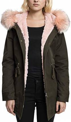 Urban Classics Damen Ladies Peached Teddy Lined Parka, Grün (Darkolive 551), Small von Urban Classics