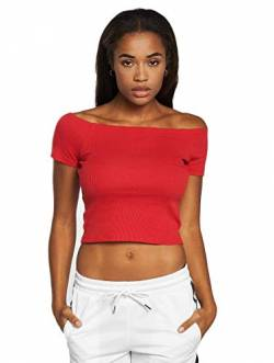 Urban Classics Damen Ladies Off Shoulder Rib Tee T-Shirt, Rot (Fire Red 00697), Medium (Herstellergröße: M) von Urban Classics