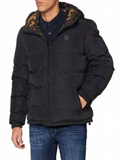 Urban Classics Herren Reversible Hooded Puffer Jacket Jacken, Black/woodcamo, L von Urban Classics