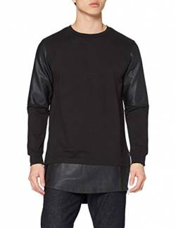 Urban Classics Herren Long Zipped Leather Imitation Crewneck Sweatshirt, Schwarz (blk/blk 17), Large von Urban Classics