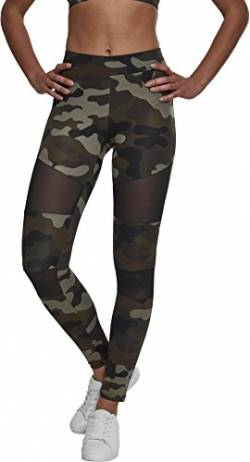 Urban Classics Damen Ladies Tech Mesh Leggings, woodcamo/blk, M von Urban Classics