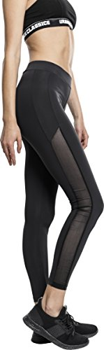 Urban Classics Damen Ladies Tech Mesh Stripe Leggings, Schwarz, Größe XL von Urban Classics
