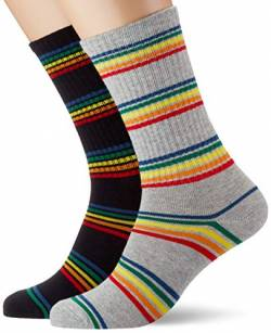 Urban Classics Unisex Rainbow Stripes 2-Pack Socken, black/grey, 43-46 von Urban Classics