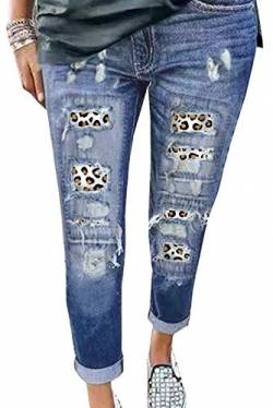 Uusollecy Damen Jeans, Leopard Patch Rissen Löcher Ankle Jeanshosen, Slim Fit Destroyed Jeans Ripped Boyfriend Denim Hosen Für Frauen Teen Girls Blau XL von Uusollecy