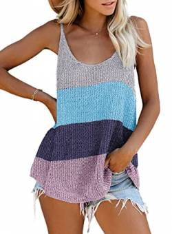 Uusollecy Damen Sommer Top V-Ausschnitt Tank Top Ärmellose Stricken Blusentop Oberteile Casual T-Shirts Tank Tunika von Uusollecy