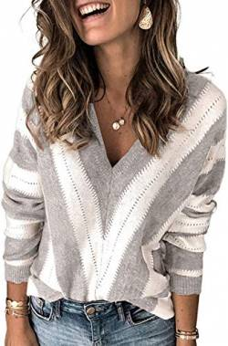 Uusollecy Damen Strickpullover V-Ausschnitt Streifen Pullover Casual Sweater Warm Oberteil Tops Herbst Winter for Damen Teen Girls Small X-Large von Uusollecy