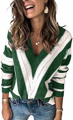 Uusollecy Damen Strickpullover V-Ausschnitt Streifen Pullover Casual Sweater Warm Oberteil Tops Herbst Winter for Damen Teen Girls Small von Uusollecy