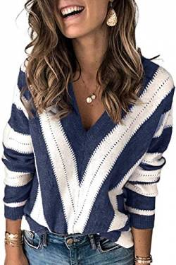 Uusollecy Damen Strickpullover V-Ausschnitt Streifen Pullover Casual Sweater Warm Oberteil Tops Herbst Winter for Damen Teen Girls XX-Large von Uusollecy
