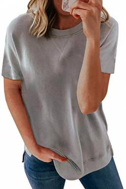 Uusollecy Damen T-Shirt Sommer, Rundhals Kurzarm Basic Tops, Einfarbig Casual Lose Oberteile Locker Tee Shirt Bluse Für Frauen Teen Girls Grau M von Uusollecy