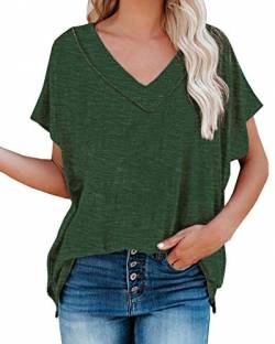 Uusollecy Damen T-Shirt Sommer, V-Ausschnitt Basic Kurzarm Shirts, Einfarbig Casual Loose Oversize Oberteile, Lockere Bluse Tops Für Frauen Teen Girls Grün M von Uusollecy