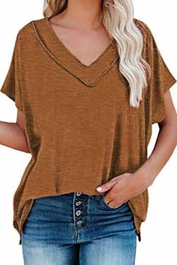 Uusollecy Damen T-Shirt Sommer, V-Ausschnitt Basic Kurzarm Shirts, Einfarbig Casual Loose Oversize Oberteile, Lockere Bluse Tops Für Frauen Teen Girls Orange XL von Uusollecy