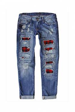 Uusollecy Jeans Damen Kariert Patch Rissen Löcher Ankle Jeanshosen, Slim Fit Ripped Jeans Boyfriend Denim Hosen Für Frauen Teen Girls XL von Uusollecy