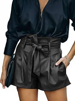 Uusollecy Shorts Damen Leder High Waist, Damen Paperbag Waist Kunstleder Shorts, Casual Wide Leg PU Leder Kurze Hose Für Frauen Teen Girls Schwarz XL von Uusollecy