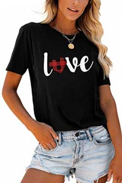 Uusollecy T-Shirt Damen Kurzarm, Rundhals Gedruckt Sommer Tee Shirt, Basic Casual Loose Shirts Oberteile Bluse Tops Für Frauen Teen Girls Schwarz M von Uusollecy