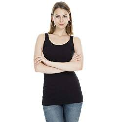 VERO MODA Damen Tank Top O-Neck Stretch Basic Shirt (44 (Herstellergröße: XXL), Black) von VERO MODA