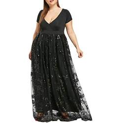 VJGOAL Damen Kleid, Frauen Plus Size Mode V-Ausschnitt Floral Maxi Abend Cocktail Party Hochzeit Boho Strand Frühling Sommerkleid (4XL / 50, W-Einfarbig-Schwarz) von VJGOAL
