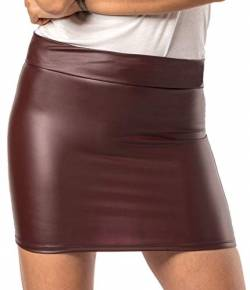 Damen Minirock Leder Optik - Sexy Wetlook Stretch Rock (Bordeaux, XL) von Verano