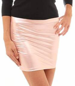 Damen Minirock Leder Optik - Sexy Wetlook Stretch Rock (Light pink, XXL) von Verano