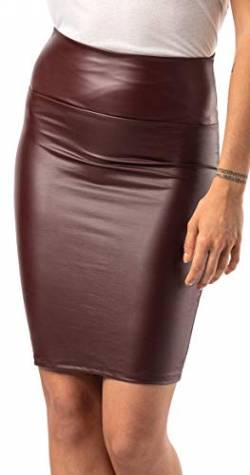 Damen knielanger Rock Leder Optik - Wetlook Stretch Rock (Bordeaux, M) von Verano