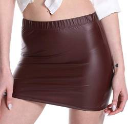 Verano Damen Minirock Stretch Kurz Wetlook (Bordeaux, XXL) von Verano