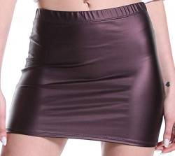 Verano Damen Minirock Stretch Kurz Wetlook (Zinn, XL) von Verano