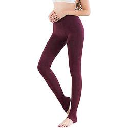 Vertvie 1/3/5er Pack Damen Thermo Strumpfhose Leggings mit Innenfleece für Herbst Winter Super Strech Warm Blickdichte Leggins (Weinrot, one Size) von Vertvie