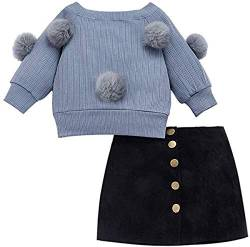 Kleinkind Kinder Mädchen Kleidung Set Solid White Langarm Hairball Strickpullover Top + Button Down Schwarz Minirock 2PCS Outfit Set von Verve Jelly