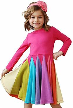 Verve Jelly 4-5 Jahre Kleinkind Mädchen Kleid Langarm Bunt Splice Eine Linie Twirly Skater Casual Princess Kleid von Verve Jelly