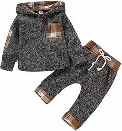 Kinder Kleinkind Baby Jungen Mädchen Herbst Outfit Plaid Tasche Hoodie Sweatshirt Jacken Shirt + Pants Winter Kleidung Set von Verve Jelly