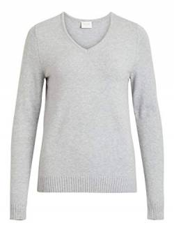 Vila Clothes Damen Viril L/S V-Neck Knit Top Pullover, Grau (Light Grey Melange), 42 (Herstellergröße: XL) von Vila