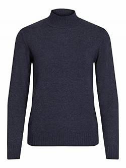 Vila Clothes Damen VIRIL L/S Turtleneck Knit TOP-NOOS Rollkragenpullover, Blau (Total Eclipse Detail:Melange), 38 (M) von Vila