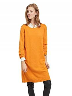 Vila NOS Damen Viril L/S Knit Dress - Noos Kleid, Orange (Golden Oak Detail:Melange), Large (Herstellergröße:L) von Vila NOS