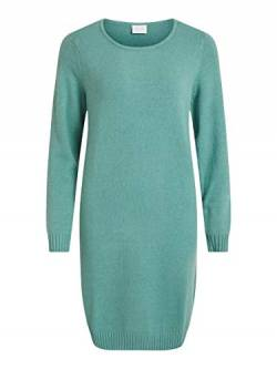 Vila NOS Damen Viril L/S Knit Dress - Noos Kleid, Türkis (Oil Blue Detail:Melange), Small (Herstellergröße:S) von Vila NOS