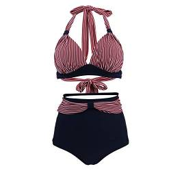 Viloree Vintage 50s Damen Bademode Bikini Set Push Up Hoher Taille Neckholder Bauchweg Gestreift Top + Blau Shorts XXL von Viloree
