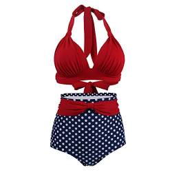 Viloree Vintage 50s Damen Bademode Bikini Set Push Up Hoher Taille Neckholder Bauchweg Rot Top + Blau Pola Dots Shorts S von Viloree