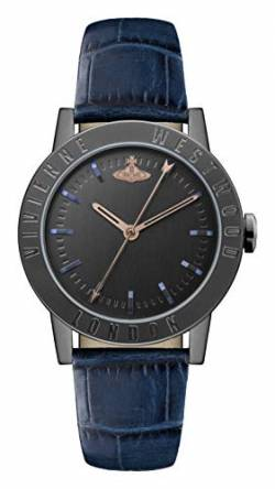 Vivienne Westwood Warwick Ladies Quartz Watch with Black Dial & Blue Leather Strap VV213BKBL von Vivienne Westwood
