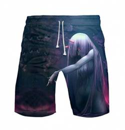 WANHONGYUE Anime Darling In The Franxx Herren Badehose Strand Shorts 3D Druck Sommer Beach Shorts Boardshorts Swim Trunks 1100/9 M von WANHONGYUE