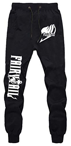WANHONGYUE Anime Fairy Tail Sweatpants Jogginghose Cosplay Kostüm Lange Trousers Sporthose Trainingsanzug mit Taschen Schwarz 3 XXL von WANHONGYUE