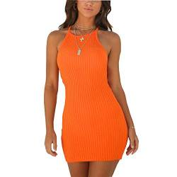 WANPUL Sommerkleid Damen Sexy Kurz Bodycon Kleid Schulterfrei Ärmelloses Slim Fit Casual Cocktail Geripptes Kleid Orange M von WANPUL