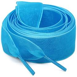 "WEGOODZF Flat Snow Yarn Shoelaces Sky Blue for Women 2cm Wide Shoe Laces Girls[2 Pair 71""] von WEGOODZF"